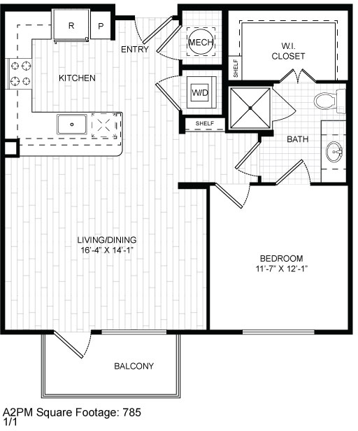 785 sq. ft. A2 floor plan