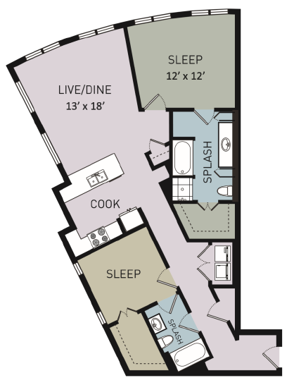 1,289 sq. ft. B6 floor plan
