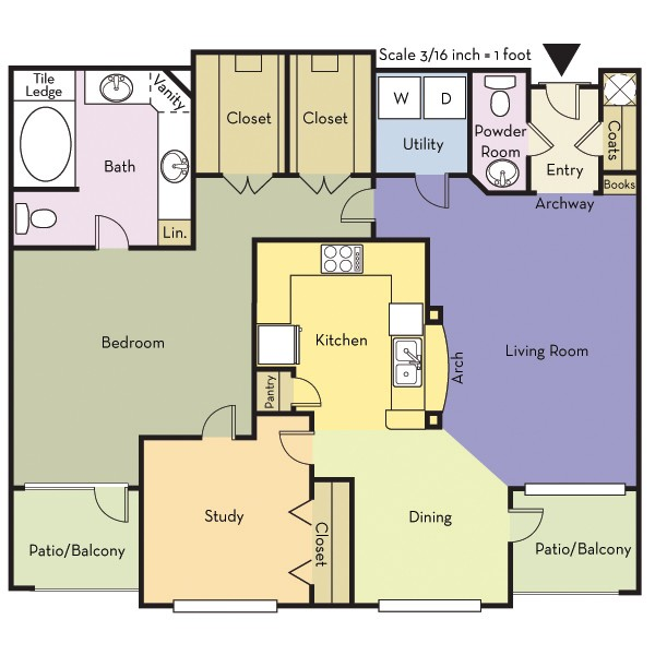 1,090 sq. ft. A1.5A/Carlisle floor plan