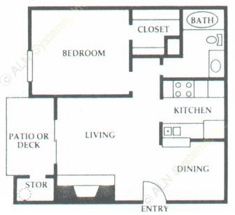 582 sq. ft. B2 floor plan
