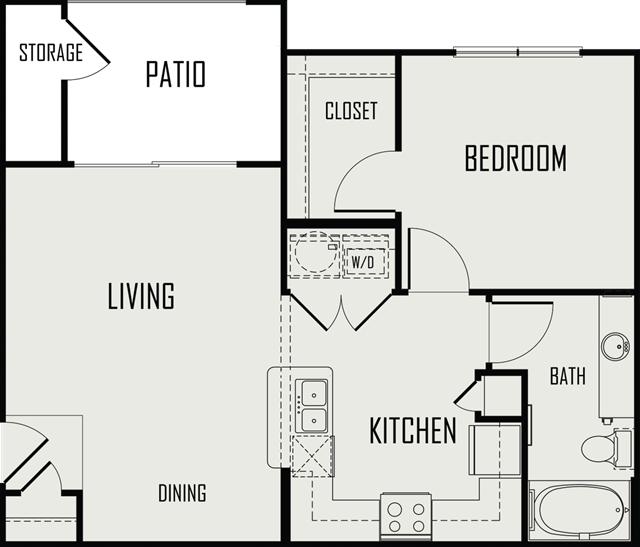 685 sq. ft. Guadalupe floor plan