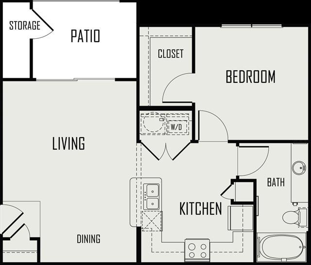 685 sq. ft. Guadalupe floor plan