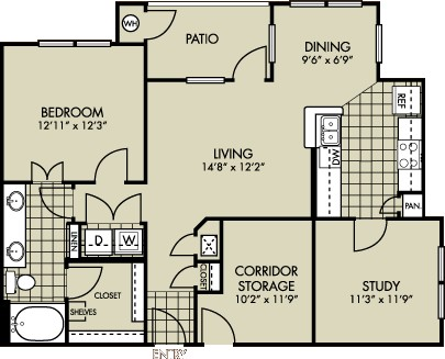 923 sq. ft. Lantana floor plan