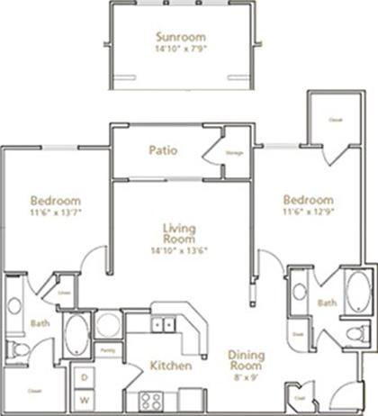 1,254 sq. ft. B2S floor plan