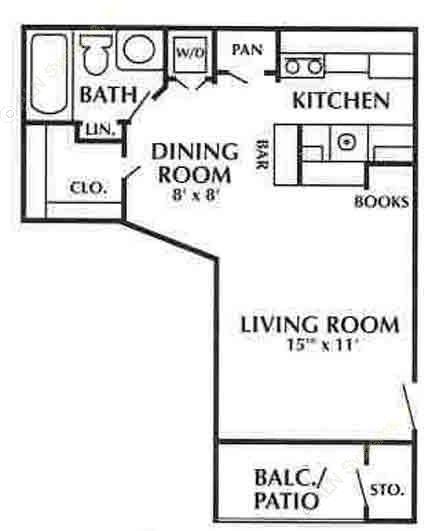 450 sq. ft. D2 floor plan