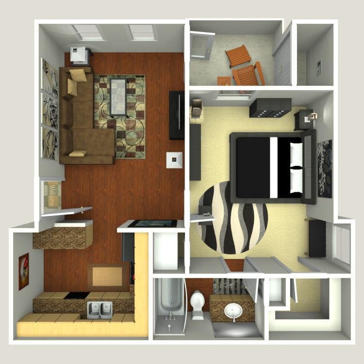 618 sq. ft. A1E floor plan