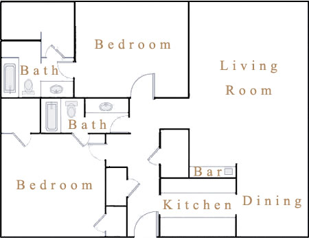 1,040 sq. ft. B3 floor plan