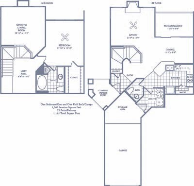 1,060 sq. ft. A6G floor plan