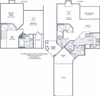1,062 sq. ft. A6G floor plan