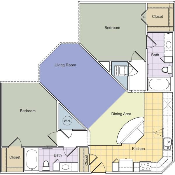 1,201 sq. ft. Cornelia (B2E) floor plan