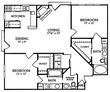 1,350 sq. ft. B4 floor plan