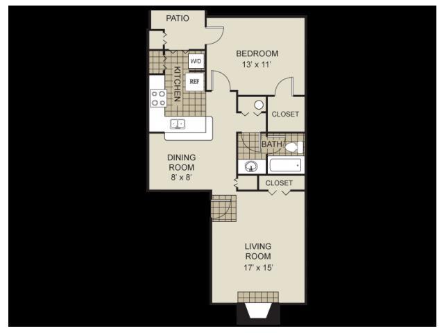 731 sq. ft. A4-B floor plan