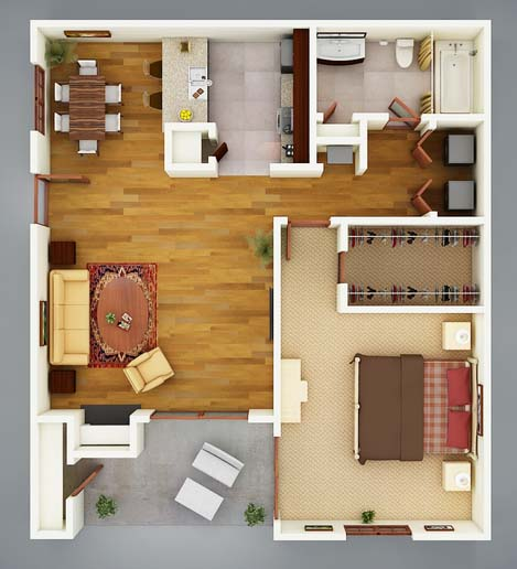 741 sq. ft. A2 Palmetto floor plan