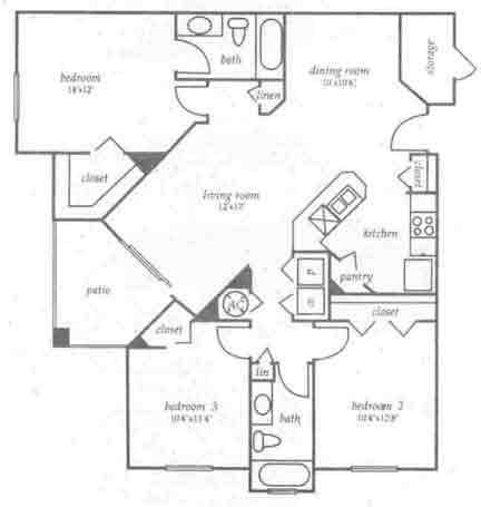 1,256 sq. ft. C1 floor plan