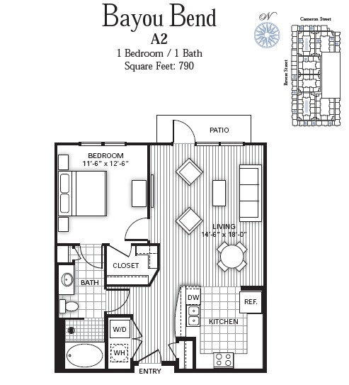 790 sq. ft. BAYOU BEND floor plan