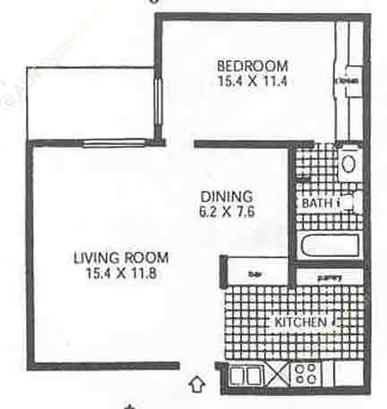 554 sq. ft. A0 floor plan