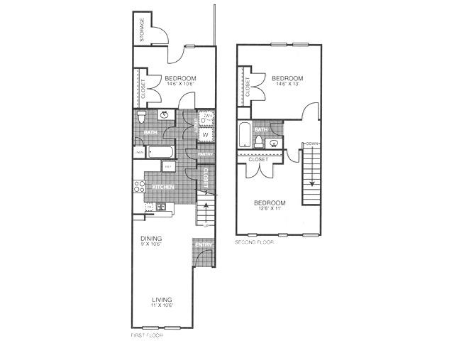 954 sq. ft. B3H/60% floor plan