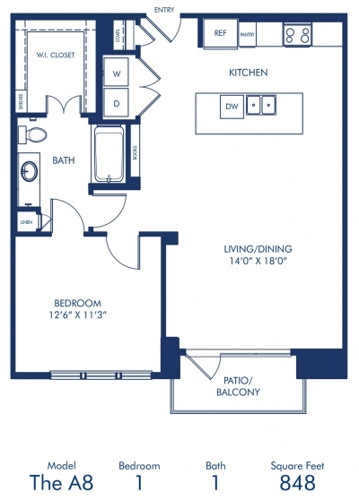 848 sq. ft. A8 floor plan