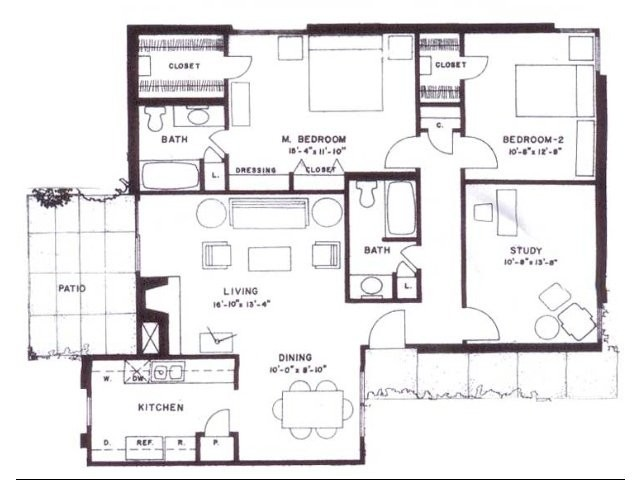 1,267 sq. ft. F12 floor plan