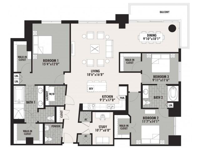 2,190 sq. ft. C1 floor plan