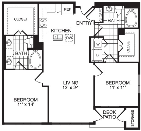 1,108 sq. ft. Grateful/Flats floor plan