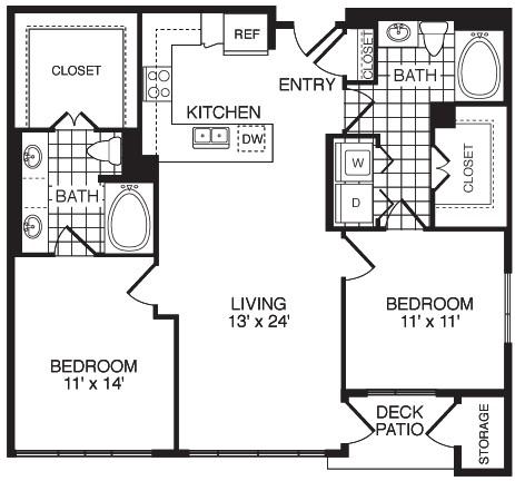 1,108 sq. ft. F2CA floor plan
