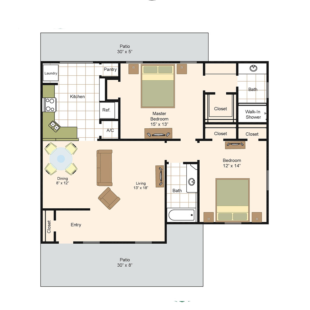 1,300 sq. ft. F floor plan