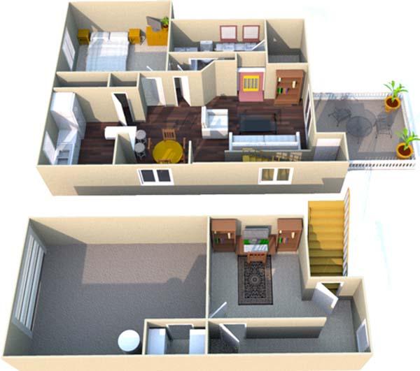 996 sq. ft. C floor plan
