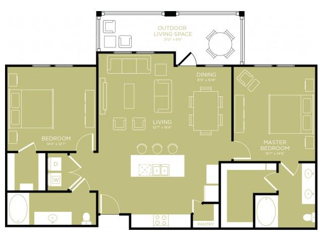 1,320 sq. ft. Tranquil floor plan