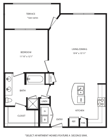 866 sq. ft. A11 floor plan