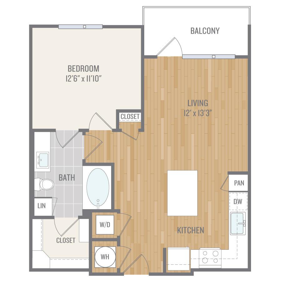 716 sq. ft. A5 floor plan