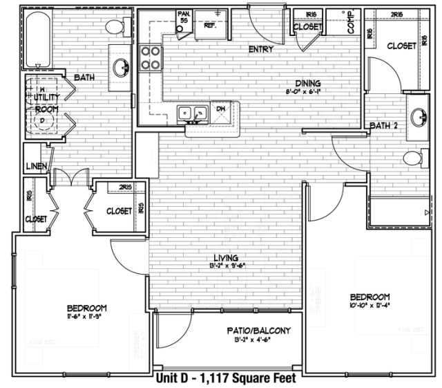1,020 sq. ft. D/60% floor plan