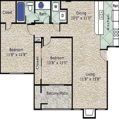 928 sq. ft. B floor plan