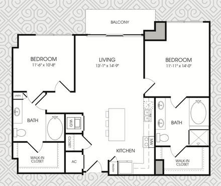 1,121 sq. ft. B1 floor plan