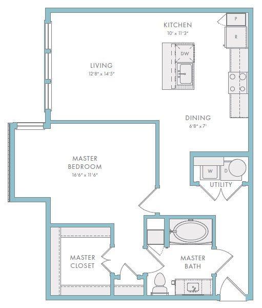 850 sq. ft. A1B floor plan