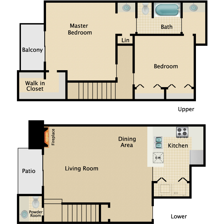 1,121 sq. ft. B3 floor plan