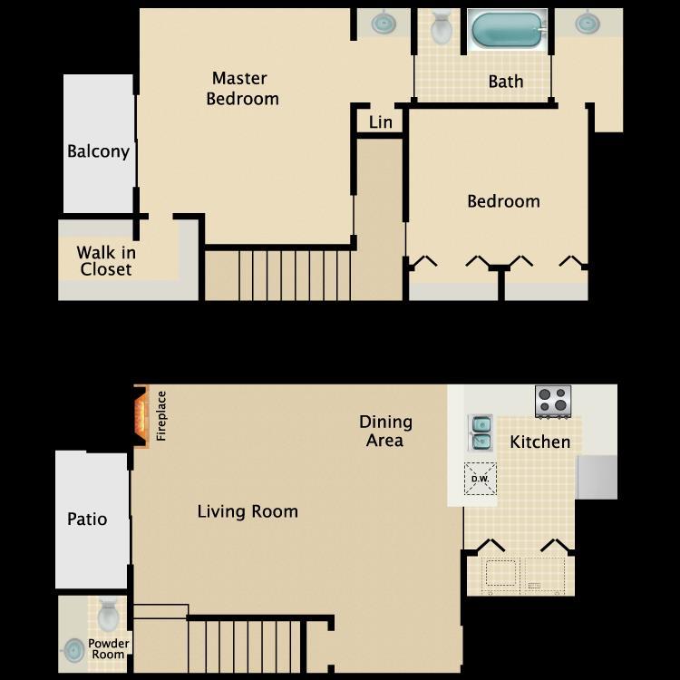 1,121 sq. ft. B3 floor plan