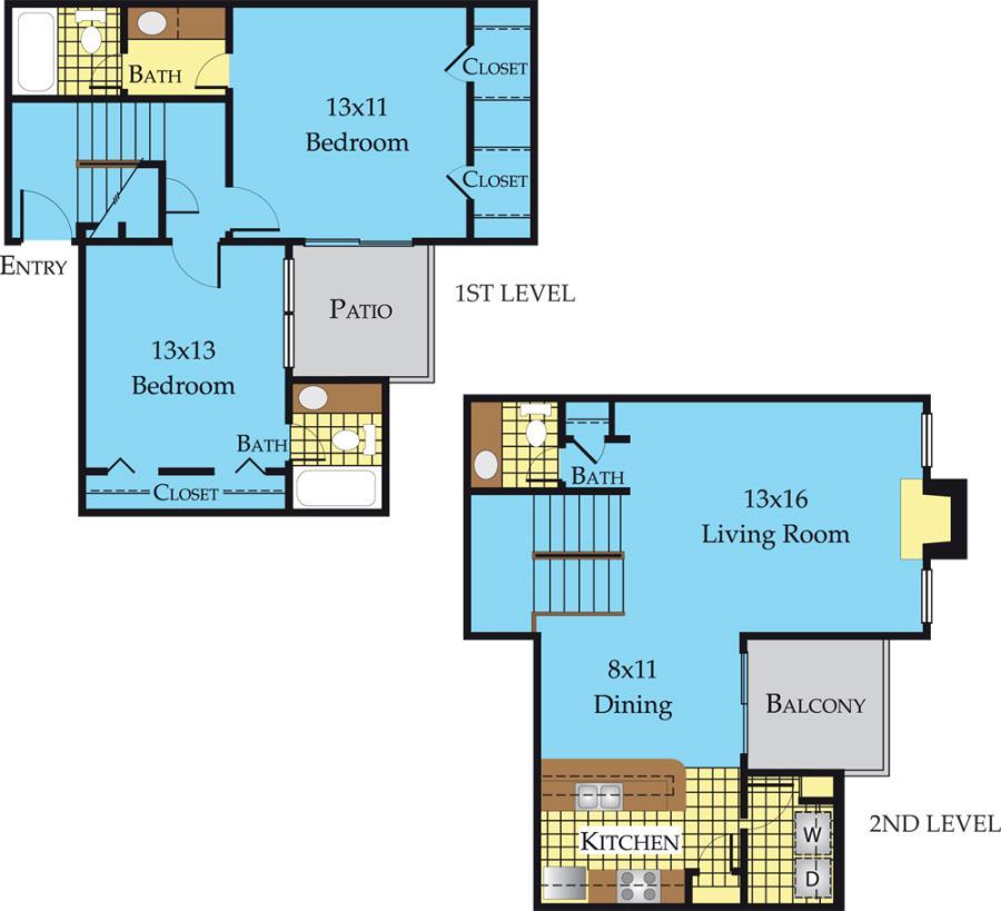 1,262 sq. ft. B3-F floor plan