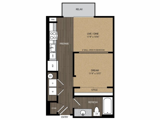 600 sq. ft. Mockingbird E2 floor plan