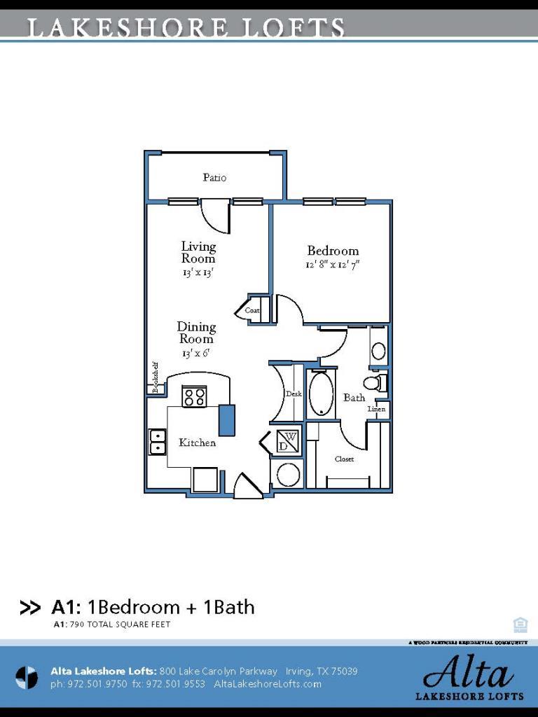 790 sq. ft. A1 floor plan