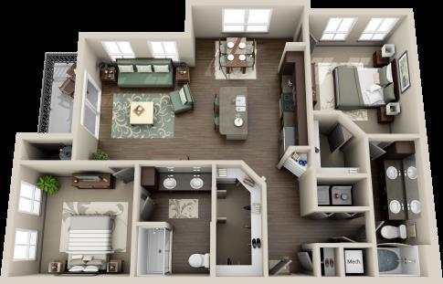 1,196 sq. ft. Guadalupe floor plan