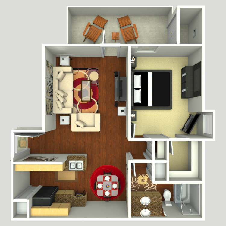 742 sq. ft. A2-E floor plan