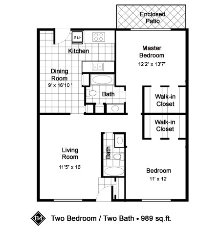 989 sq. ft. B4 floor plan