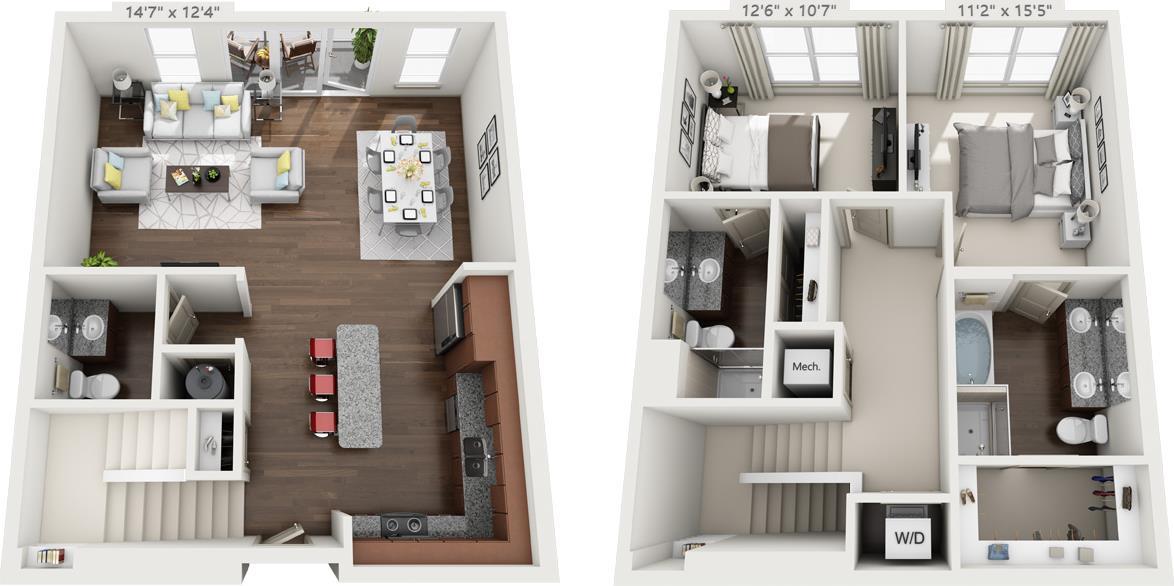 1,443 sq. ft. TH3 floor plan