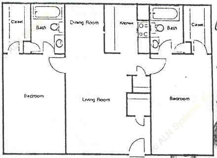 964 sq. ft. F floor plan