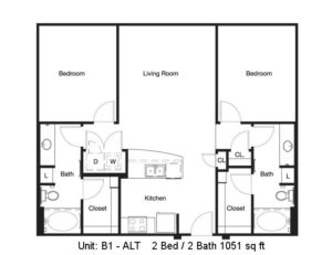 1,051 sq. ft. B1 Alt floor plan