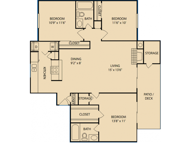 1,153 sq. ft. C floor plan