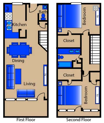 1,235 sq. ft. F3 TH floor plan