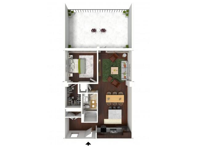 865 sq. ft. Premier Suite floor plan