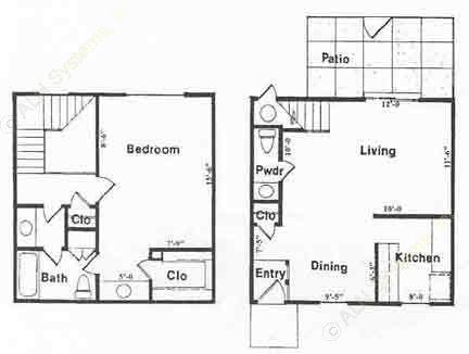940 sq. ft. A2 floor plan
